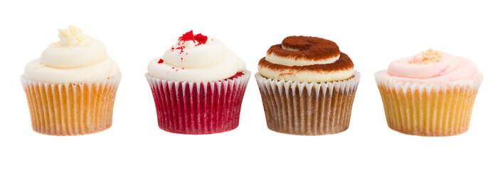row of  cupcakes on white