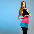 Teen cutie with tablet for copy space.