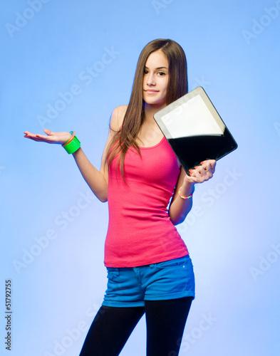 Colorful emoticon girl.