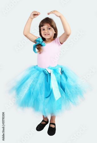 Smiling Girl Performing in Tutu Skirt