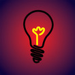 Colorful & hot incandescent light bulb icon symbol-vector graphi