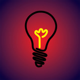 Colorful & hot incandescent light bulb icon symbol-vector graphi poster