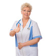 Smiling mature doctor shows ok gesture
