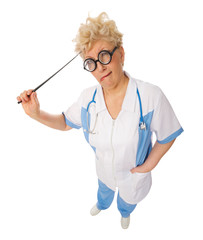 Funny mature doctor with pointer