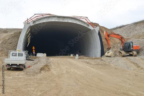 Fotobehang Tunnel Costruzione galleria