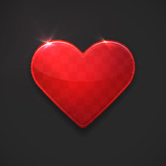 Vector illustration of beautiful red glossy heart
