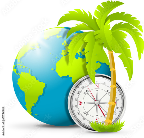Earth, compass, palm