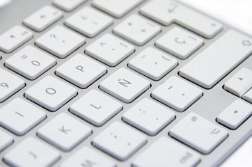 Letra Ñ en un teclado en primer plano