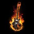 Leinwanddruck Bild - E Gitarre unter Feuer