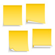 Four different yellow sticky notes on white background