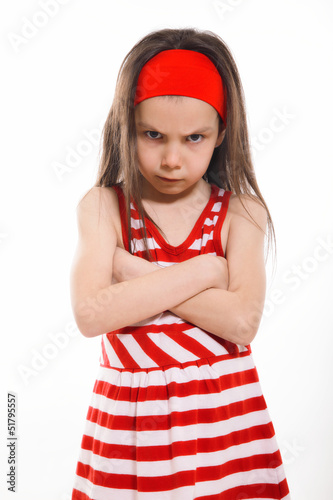 Angry Little Girl on light background