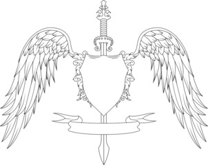 Composition with swords, wings, badge and ribbon
