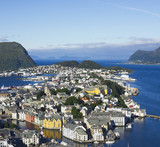 Panoramic view on center of seaport Alesund, Norway.