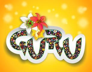 Guru Art Design Text Sticker-Guru Adesivo Testo Floreale