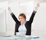 Businesswoman Celebrating Success