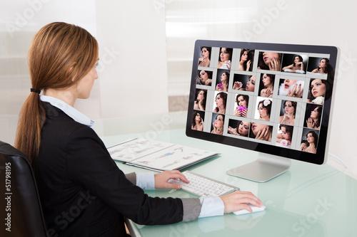 Designer Woman Working On Computer