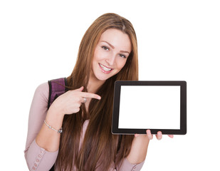 Female Student Holding Digital Tablet