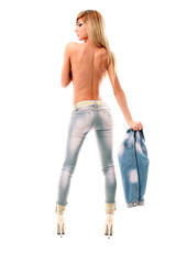 Sensual blonde topless girl in jeans