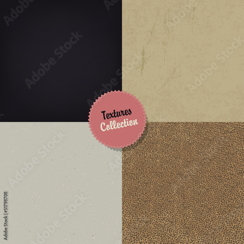 Collection of four different textures, vector, EPS10