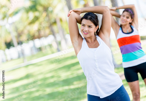 Women doing stretching exercises