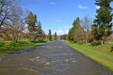 Riever Wiese on a sunny spring day, Riehen, Switzerland