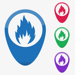 Vector illustration web buttons pointer - fire