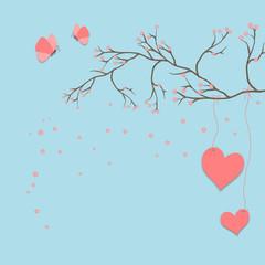 Liebesgruß mit Schmetterlingen und Kirschzweig