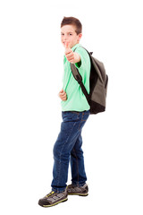 Full length portrait of a school boy with thumb up gesture, isol