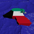 Kuwait map flag in abstract ocean illustration