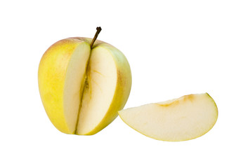 The cut apple on the white isolated background