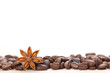 Coffee and star anise on white