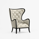 Isolated beige luxury tufted armchair