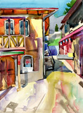original watercolor painting of old street in Gurzuf