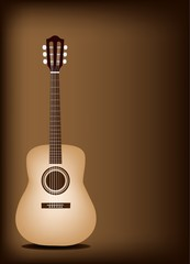 Beautiful Classical Guitar on Dark Brown Background