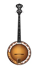 A Beautiful Brown Banjo on White Background