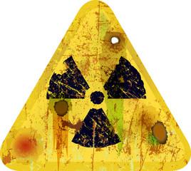 Strahlungswarnung, Schild, verrostet und verrottet, Symbolbild,V