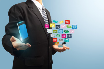 colorful application icon with mobile phone in the hands