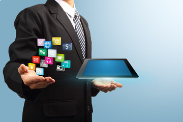 colorful application icon with tablet computer in the hands