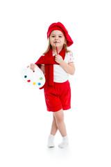 little girl in artist costume isolated