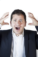 Young Guy Shocked Screaming. White Background.