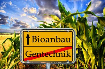 Schild Bioanbau vor einem Maisfeld