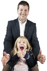 Great! Man and little girl exulting. White Background