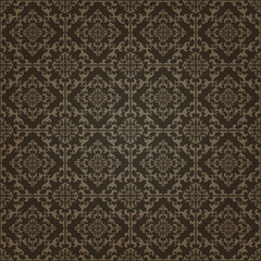 Red Brown Colors Damask Style Pattern design. Original Pattern a
