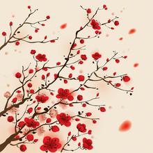 Oosterse stijl schilderen, pruim bloesem in het voorjaar