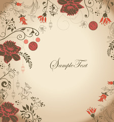 VINTAGE FLORAL INVITATION CARD