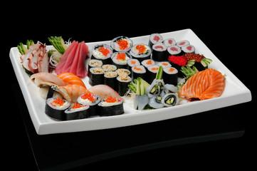 Assortment of rolls, sushi and sashimi