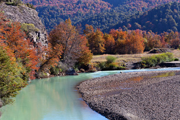 Autumn landscape in the mountains of Patagonia