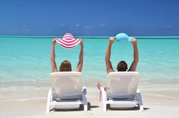 A couple on the beach of Exuma, Bahamas