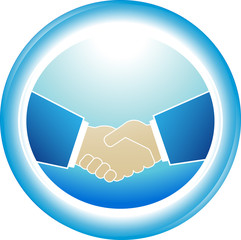 blue symbol of reliability - successful partnership handshake
