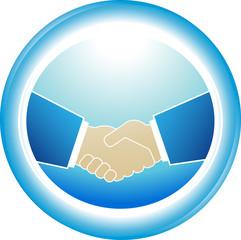 blue symbol of reliability - successful partnership handshake